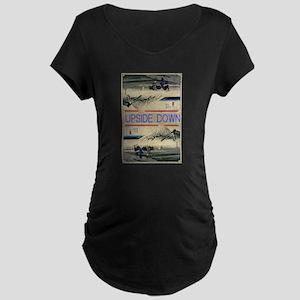 Hiroshige Mt. Fuji upside down Maternity T-Shirt