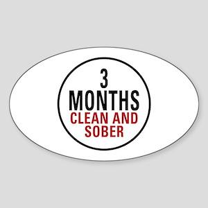 3 Months Clean & Sober Oval Sticker