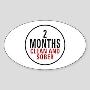 2 Months Clean & Sober Oval Sticker