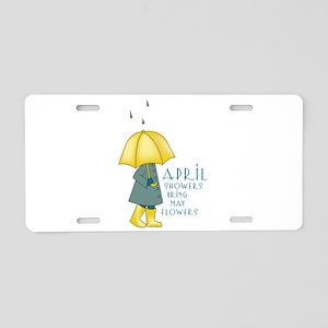 April Showers Aluminum License Plate