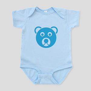 Cute Blue Teddy Bear Face Body Suit