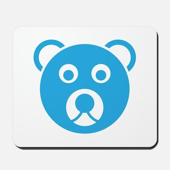 Cute Blue Teddy Bear Face Mousepad