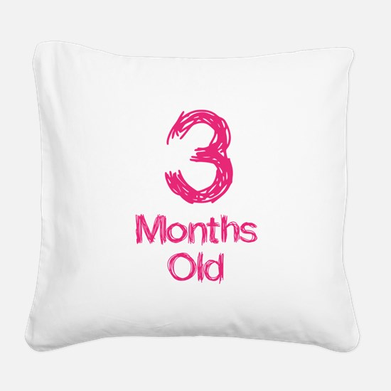 3 Months Old Baby Milestones Square Canvas Pillow
