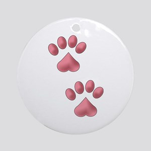 Two Paws Ornament (Round)