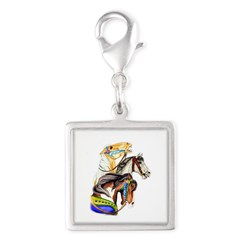 Carousel Horses Silver Square Charm