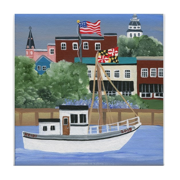 Annapolis View Tile Coaster By BeehiveCottageGoods