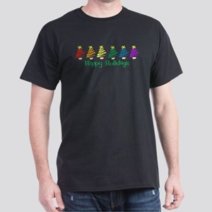 Happy Holidays (Rainbow Trees Dark T-Shirt