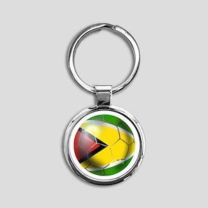 Guyana Football Round Keychain