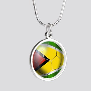 Guyana Football Silver Round Necklace