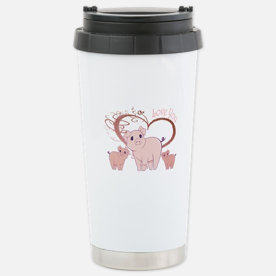 Love You, Cute Piggies Art Travel Mug