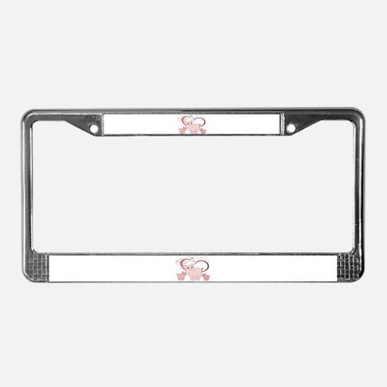 Love You, Cute Piggies Art License Plate Frame