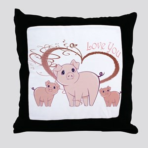 Love You, Cute Piggies Art Throw Pillow