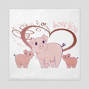 Love You, Cute Piggies Art Queen Duvet