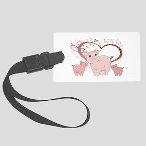 Love You, Cute Piggies Art Luggage Tag