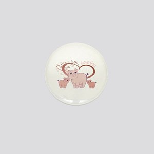 Love You, Cute Piggies Art Mini Button
