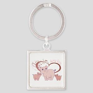 Love You, Cute Piggies Art Keychains
