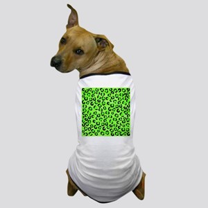 Green and Black Leopard Print. Dog T-Shirt