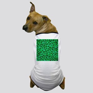 Green Leopard Print Pattern. Dog T-Shirt