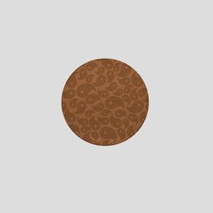 Brown Paisley. Mini Button