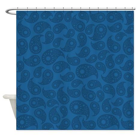dark blue paisley shower curtain by metarla3. Black Bedroom Furniture Sets. Home Design Ideas