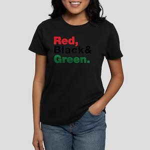 Red, Black and Green. Women's Dark T-Shirt
