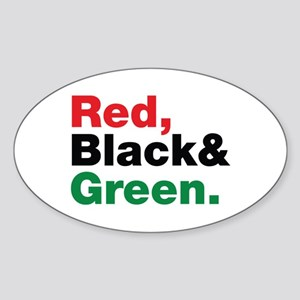 Red, Black and Green. Sticker (Oval)