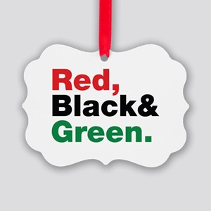 Red, Black and Green. Picture Ornament