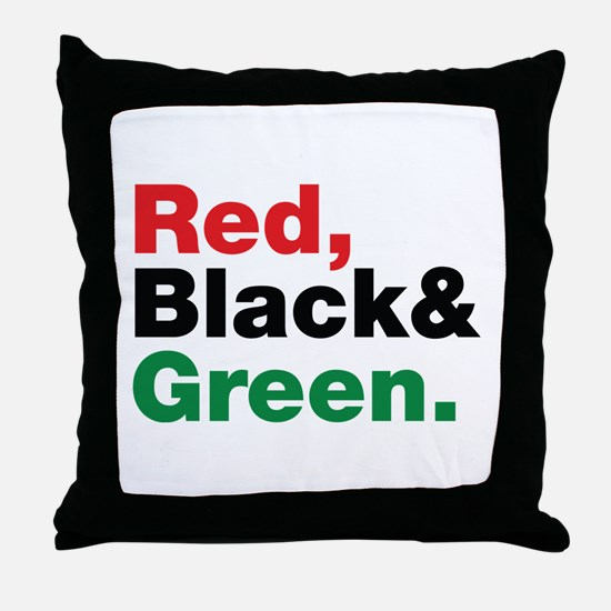 Red, Black and Green. Throw Pillow