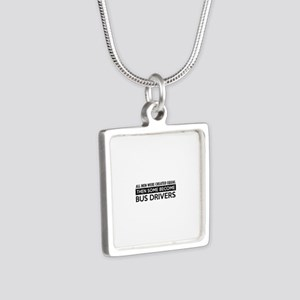 Bus Driver Designs Silver Square Necklace