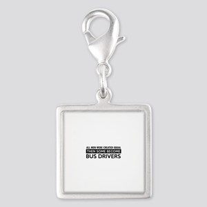 Bus Driver Designs Silver Square Charm