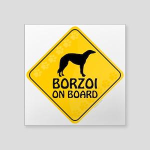 """Borzoi On Board Square Sticker 3"""" x 3"""""""