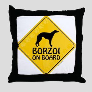 Borzoi On Board Throw Pillow