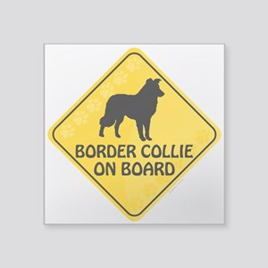 "Border Collie On Board Square Sticker 3"" x 3"""