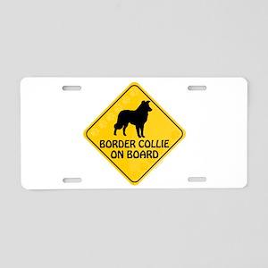 Border Collie On Board Aluminum License Plate