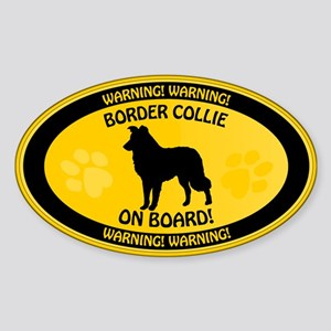 Border Collie On Board Sticker (Oval)