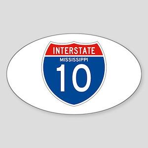 Interstate 10 - MS Oval Sticker