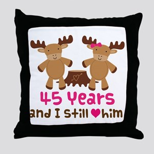 45th Anniversary Moose Throw Pillow