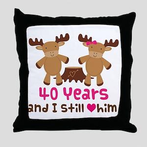 40th Anniversary Moose Throw Pillow