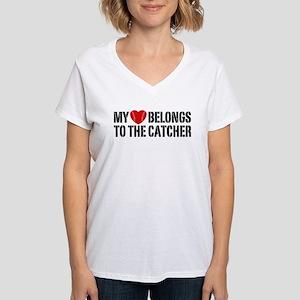 My Heart Belongs To The Catcher Women's V-Neck T-S