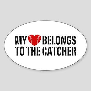 My Heart Belongs To The Catcher Sticker (Oval)