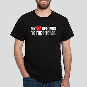 My Heart Belongs To The Pitcher Dark T-Shirt