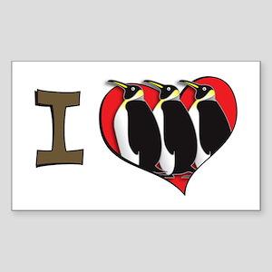 I heart penguins Rectangle Sticker