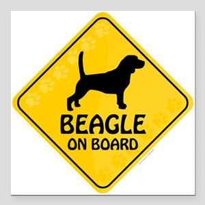 "Beagle On Board Square Car Magnet 3"" x 3"""
