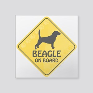 "Beagle On Board Square Sticker 3"" x 3"""