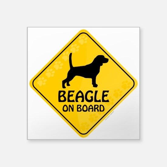"""Beagle On Board Square Sticker 3"""" x 3"""""""