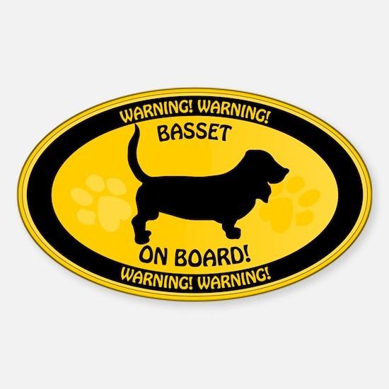 Basset On Board Sticker (Oval)