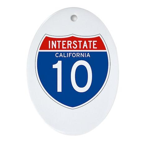 Interstate 10 - CA Oval Ornament