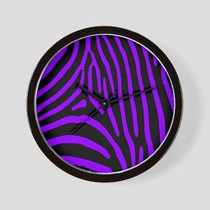 Black and Purple Zebra Stripes Wall Clock