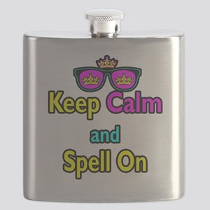 Crown Sunglasses Keep Calm And Spell On Flask