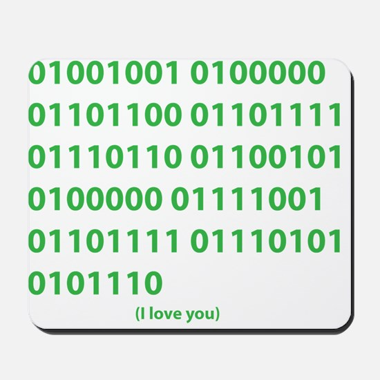 I LOVE YOU in Binary Code Mousepad